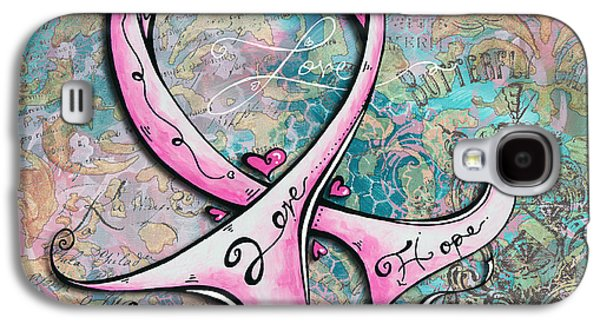Courage Paintings Galaxy S4 Cases - Beautiful Inspirational Elegant Pink Ribbon Design Art for Breast Cancer Awareness Galaxy S4 Case by Megan Duncanson