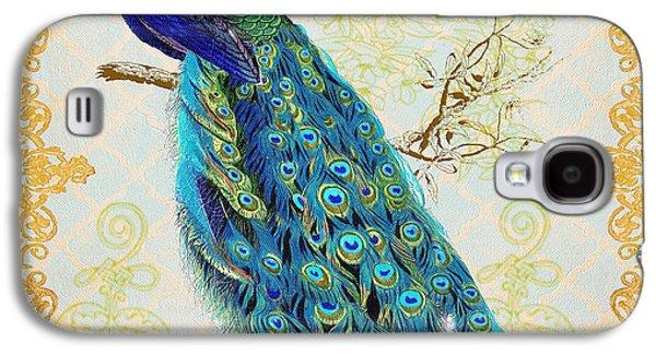 Geometric Digital Art Galaxy S4 Cases - Beautiful Peacock-B Galaxy S4 Case by Jean Plout