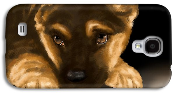 Puppy Digital Art Galaxy S4 Cases - Beautiful puppy Galaxy S4 Case by Veronica Minozzi