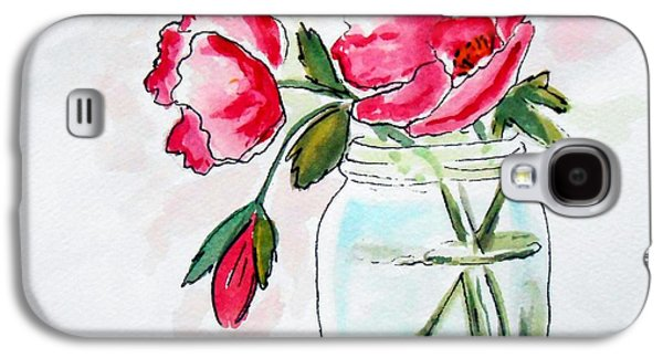 Water Jars Paintings Galaxy S4 Cases - Beautiful Roses in a Mason Jar Galaxy S4 Case by Rita Drolet