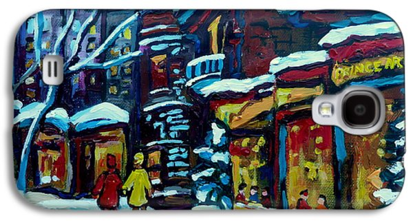 Montreal Cityscenes Paintings Galaxy S4 Cases - Beautiful Winter Evening Galaxy S4 Case by Carole Spandau