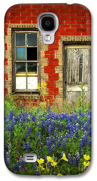 Scenic Galaxy S4 Cases - Beauty and the Door - Texas Bluebonnets wildflowers landscape door flowers Galaxy S4 Case by Jon Holiday