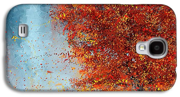 Autumn Scene Galaxy S4 Cases - Beauty Of It- Autumn Impressionism Galaxy S4 Case by Lourry Legarde