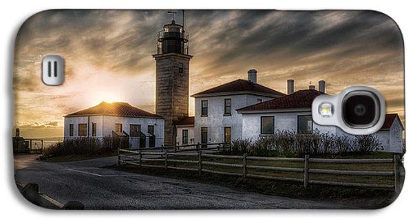 Light Galaxy S4 Cases - Beavertail Lighthouse Sunset Galaxy S4 Case by Joan Carroll