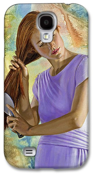 Figures Paintings Galaxy S4 Cases - Becca brushing her hair Galaxy S4 Case by Paul Krapf
