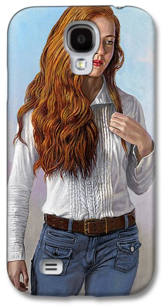 Figure Galaxy S4 Cases - Becca in Blouse and Jeans Galaxy S4 Case by Paul Krapf