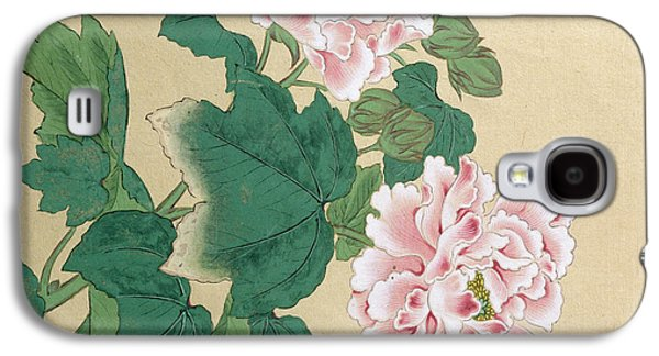 Ink Drawing Drawings Galaxy S4 Cases - Bee and Peony Galaxy S4 Case by Ichimiosai
