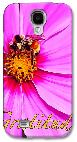 Photo Manipulation Galaxy S4 Cases - Bee on Pink - Gratitude Galaxy S4 Case by Bill Caldwell -        ABeautifulSky Photography