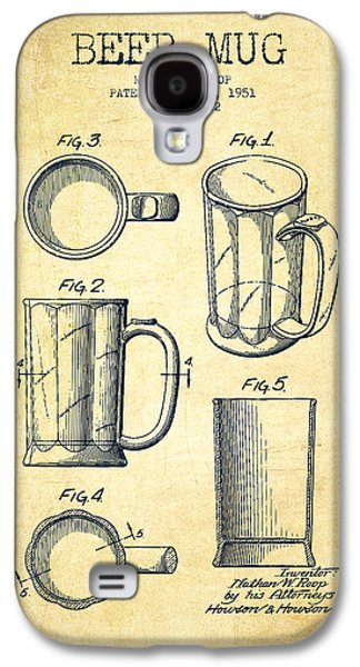 Beer Mug Patent Drawing From 1951 - Vintage Galaxy S4 Case by Aged Pixel