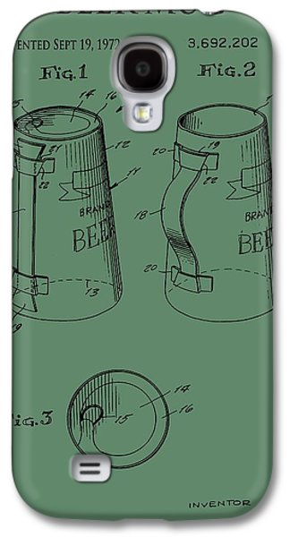 Owner Mixed Media Galaxy S4 Cases - Beer Mug Patent On Green Galaxy S4 Case by Dan Sproul