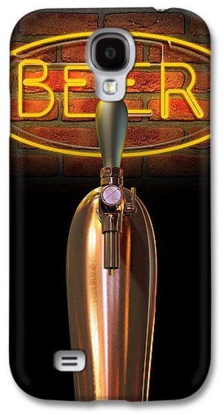 Machinery Galaxy S4 Cases - Beer Tap Single With Neon Sign Galaxy S4 Case by Allan Swart