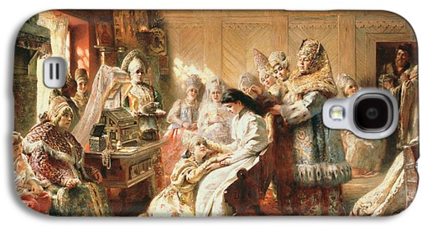 Dressing Room Galaxy S4 Cases - Before The Wedding, 1890 Oil On Canvas Galaxy S4 Case by Konstantin Egorovich Makovsky