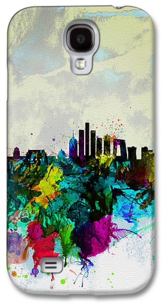 Architectural Digital Art Galaxy S4 Cases - Beijing Watercolor Skyline Galaxy S4 Case by Naxart Studio