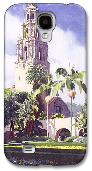 Museum Paintings Galaxy S4 Cases - Bell Tower in Balboa Park Galaxy S4 Case by Mary Helmreich