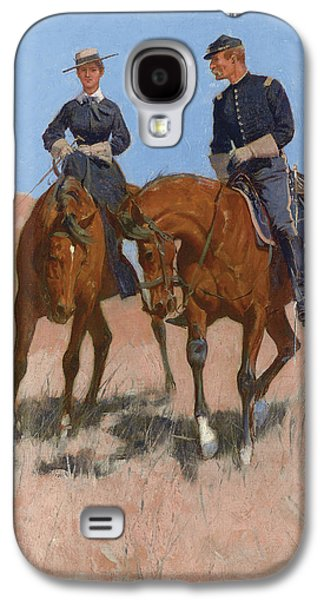 Posters On Paintings Galaxy S4 Cases - Belle McKeever and Lt Edgar Wheelock Galaxy S4 Case by Frederic Remington