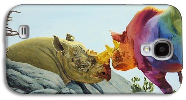 Rhinoceros Paintings Galaxy S4 Cases - Beloved Galaxy S4 Case by Sarah Soward