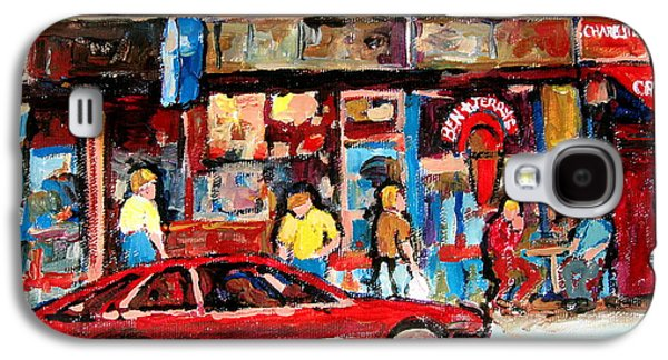Montreal Streetscenes Paintings Galaxy S4 Cases - Ben And Jerrys Ice Cream Parlor Galaxy S4 Case by Carole Spandau