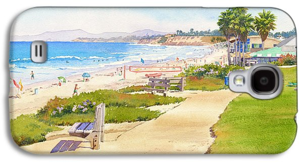 Volley Galaxy S4 Cases - Benches at Powerhouse Beach Del Mar Galaxy S4 Case by Mary Helmreich