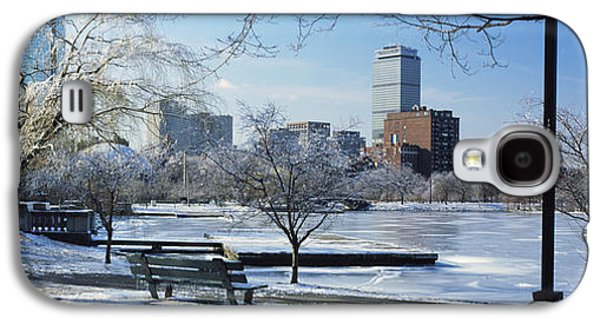 Charles River Galaxy S4 Cases - Benches In A Park, Charles River Park Galaxy S4 Case by Panoramic Images