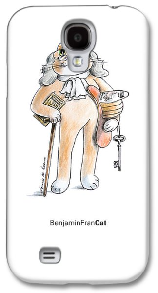 Benjamin Franklin Drawings Galaxy S4 Cases - BenFranCAT Galaxy S4 Case by Louise McClain Reeves