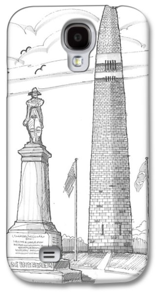 Historic Site Drawings Galaxy S4 Cases - Bennington Battle Monuments Galaxy S4 Case by Richard Wambach
