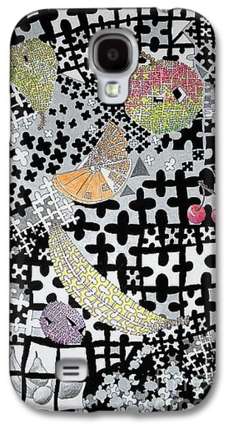 Mix Medium Drawings Galaxy S4 Cases - Fruit puzzle Galaxy S4 Case by Elaine Berger