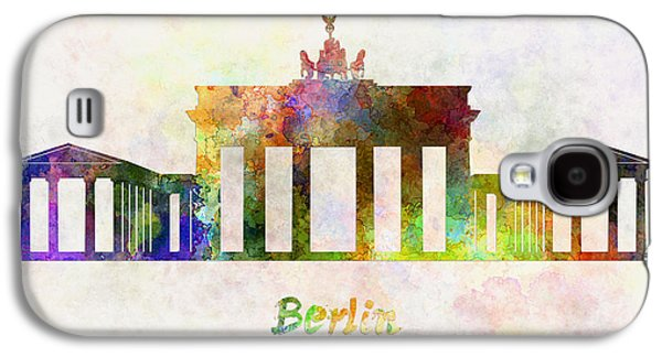 Berlin Germany Paintings Galaxy S4 Cases - Berlin Landmark Brandenburg Gate in watercolor Galaxy S4 Case by Pablo Romero