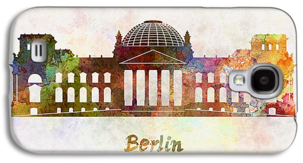 Berlin Germany Paintings Galaxy S4 Cases - Berlin Landmark The Reichstag in watercolor Galaxy S4 Case by Pablo Romero