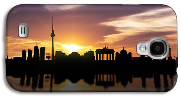 Buildings Mixed Media Galaxy S4 Cases - Berlin Sunset Skyline  Galaxy S4 Case by Aged Pixel
