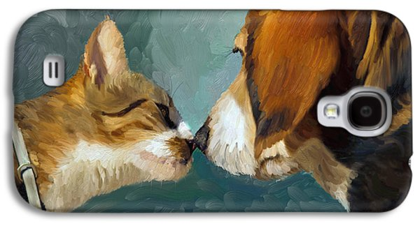 Dog Close-up Paintings Galaxy S4 Cases - Best Friends Galaxy S4 Case by Angela A Stanton