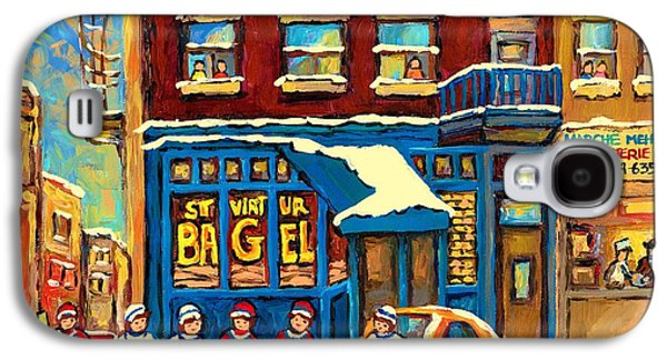 Store Fronts Paintings Galaxy S4 Cases - Best Sellers Original Montreal Paintings For Sale Hockey Game At St.viateur Bagel Carole Spandau Galaxy S4 Case by Carole Spandau