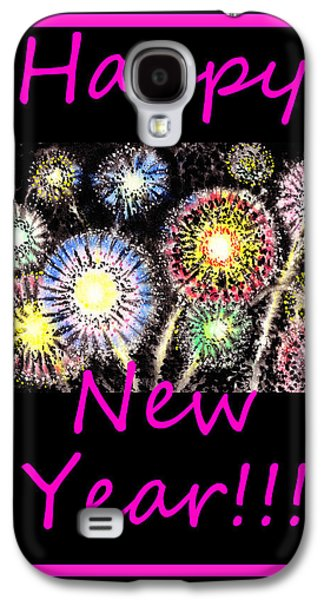 Fireworks Paintings Galaxy S4 Cases - Best Wishes And Happy New Year Galaxy S4 Case by Irina Sztukowski