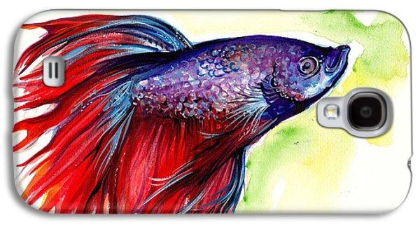 Betta Galaxy S4 Cases - Beta Splendens Watercolor Fish Galaxy S4 Case by Tiberiu Soos