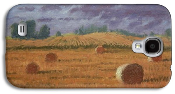Haybales Paintings Galaxy S4 Cases - Between Showers Galaxy S4 Case by Roger Parsons