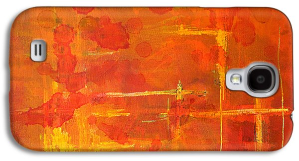 Tangerine Paintings Galaxy S4 Cases - Between the Lines Galaxy S4 Case by Nancy Merkle