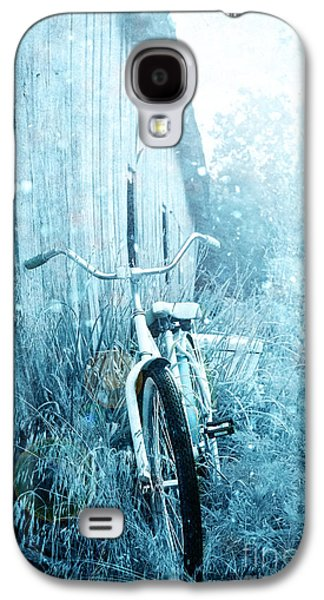 Outbuildings Galaxy S4 Cases - Bicycle in Blue Galaxy S4 Case by Stephanie Frey