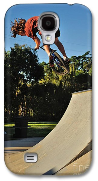 Bicycle Photographs Galaxy S4 Cases - Bicycle in Flight - Action Galaxy S4 Case by Kaye Menner