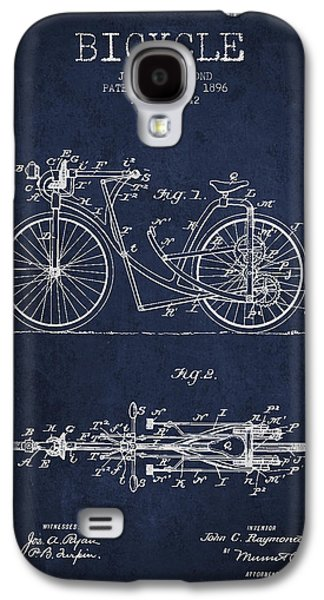 Bicycle Patent Drawing From 1896 - Navy Blue Galaxy S4 Case by Aged Pixel