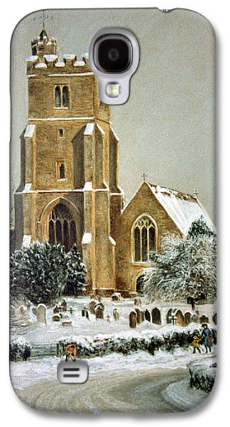 Winter Scene Pastels Galaxy S4 Cases - Biddenden Church Galaxy S4 Case by Rosemary Colyer