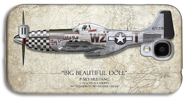 Big Beautiful Doll P-51d Mustang - Map Background Galaxy S4 Case by Craig Tinder