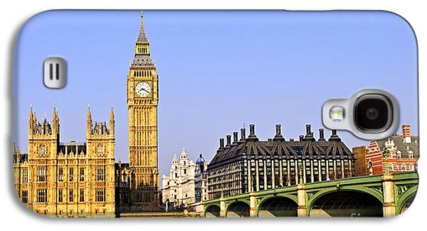 Landmarks Photographs Galaxy S4 Cases - Big Ben and Westminster bridge Galaxy S4 Case by Elena Elisseeva