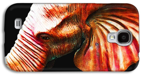 Sec Galaxy S4 Cases - Big Red - Elephant Art Painting Galaxy S4 Case by Sharon Cummings