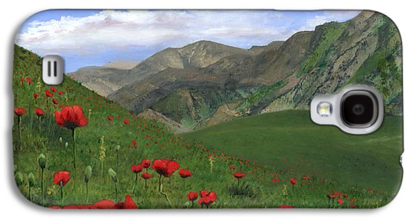 Sicily Paintings Galaxy S4 Cases - Big Red Mountain Poppies Galaxy S4 Case by Cecilia  Brendel