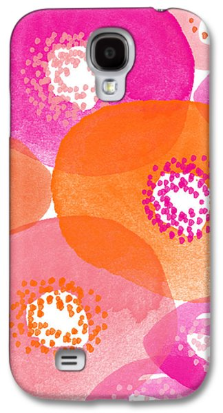 Nature Abstract Galaxy S4 Cases - Big Spring Flowers- Contemporary watercolor painting Galaxy S4 Case by Linda Woods
