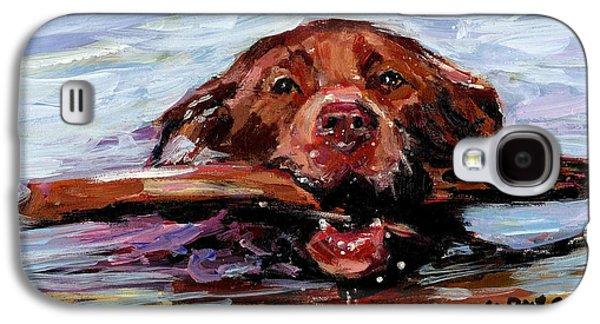 Chocolate Labrador Retriever Galaxy S4 Cases - Big Stick Galaxy S4 Case by Molly Poole