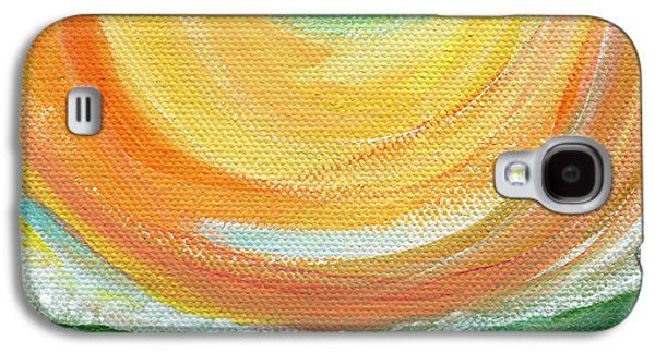 Sun Mixed Media Galaxy S4 Cases - Big Sun- abstract landscape  Galaxy S4 Case by Linda Woods