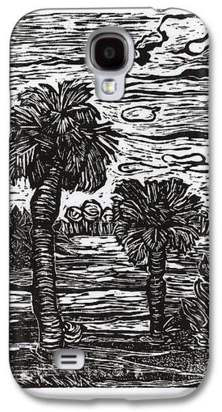 Linocut Drawings Galaxy S4 Cases - Big Tree Little Tree Galaxy S4 Case by Monica James