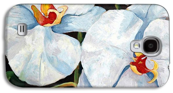 Country Cottage Galaxy S4 Cases - Big White Orchids - Floral Art By Betty Cummings Galaxy S4 Case by Betty Cummings