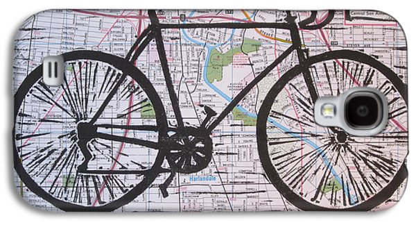 Bike 8 On Map Galaxy S4 Case by William Cauthern