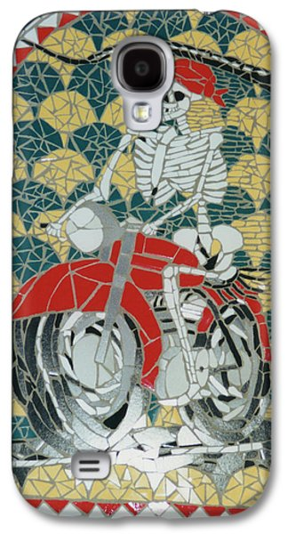 Transportation Ceramics Galaxy S4 Cases - Biker Dude Galaxy S4 Case by Pj Flagg Tongue in Chic